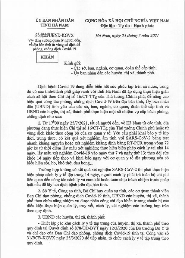 Công văn 1885 của UBND Tỉnh Hà Nam.